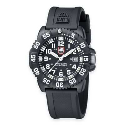Luminox® Men's Navy SEAL Colormark 44mm Black Dial Watch with Black Rubber Strap