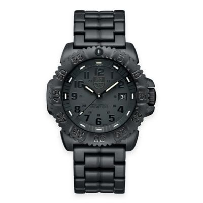 Luminox® Men's Navy SEAL Colormark 44mm Blackout Luminescent Watch with Black Rubber Strap
