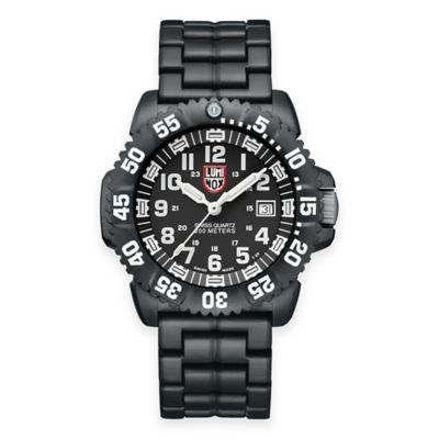 Luminox® Men's Navy SEAL Colormark 44mm Black Dial Luminescent Watch with Black Rubber Strap