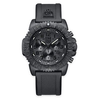 Luminox® Men's Navy SEAL Colormark 44mm Blackout Chronograph Diver's Watch w/ Black Rubber Strap