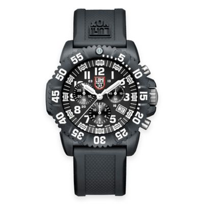 Luminox® Men's Navy SEAL Colormark 44mm Chronograph Diver's Watch with Black Rubber Strap