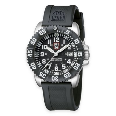 Luminox® Men's Navy SEAL 44mm Luminescent Watch in Stainless Steel with Black Silicone Strap
