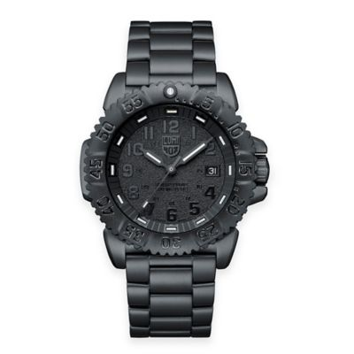 Luminox® Men's Navy SEAL 44mm Colormark Blackout Watch in Black Stainless Steel