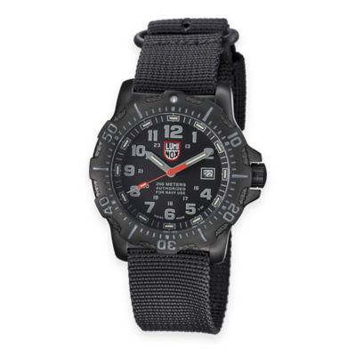 Luminox® ANU Men's Navy SEAL 45mm Black Dial Watch with Black Nylon Strap