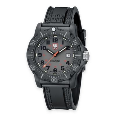 Luminox® Men's 45mm Grey Dial Watch with Black Rubber Strap