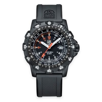 Luminox® Recon Series Men's 45mm Black Dial Watch with Black Rubber Strap