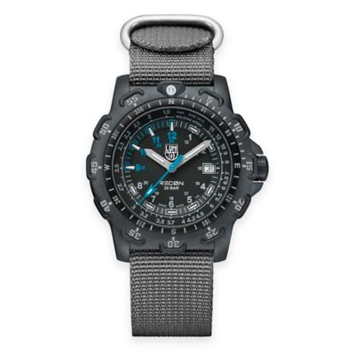 Luminox® Recon Series Men's 45mm Black Dial Watch with Grey Nylon Strap