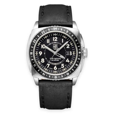 Luminox® P-38 Lightning Men's 44mm Black Dial Watch in Stainless Steel with Black Leather Strap