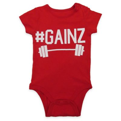 "FREEZE Size 6-9M ""#Gainz"" Short-Sleeve Bodysuit in Red"