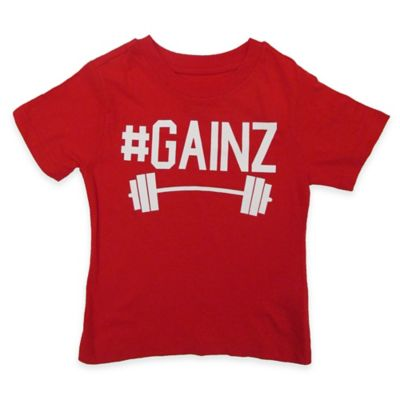 "FREEZE Size 2T ""#Gainz"" Short-Sleeve Shirt in Red"