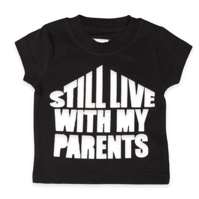 "FREEZE Size 12M ""Still Live With My Parents"" Short-Sleeve Shirt in Black"
