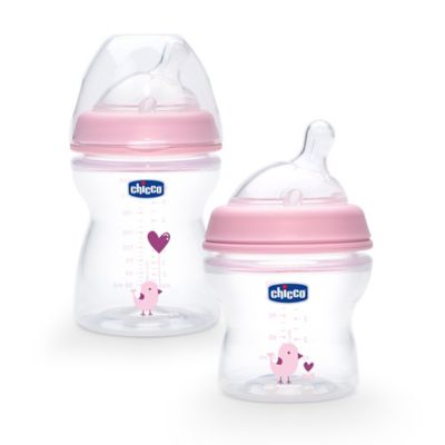 Chicco® NaturalFit® 2-Pack Stage 1 Bottles in Pink Deco