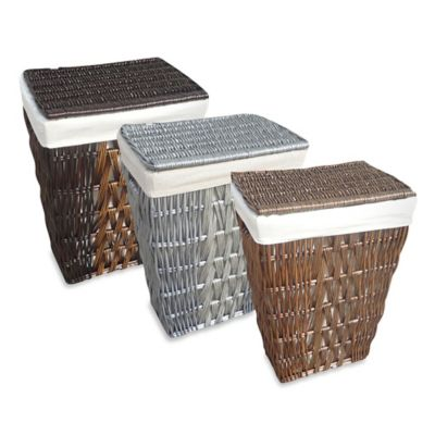 Baum Zig Zag Willow Hamper in Espresso