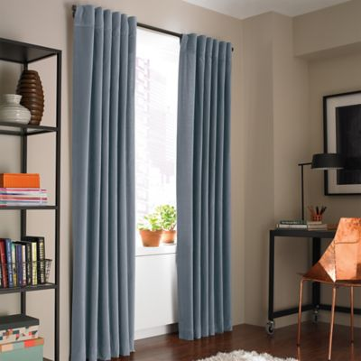 Kenneth Cole Reaction Home Soho Velvet 63-Inch Lined Window Curtain Panel in Blue Smoke