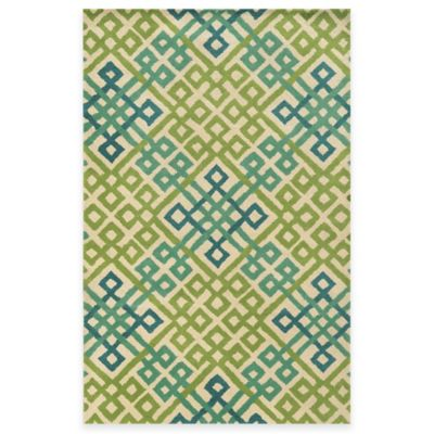 Rizzy Home Bradberry Downs Woven Tile 3-Foot x 5-Foot Area Rug in Teal/Lime