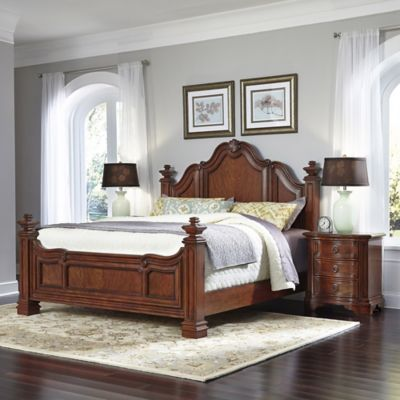 Home Styles Santiago 3-Piece King Bed and Night Stand Set in Cognac