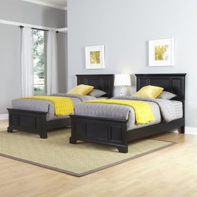 Home Styles Bedford Two Twin Beds and Nightstand Set in Black