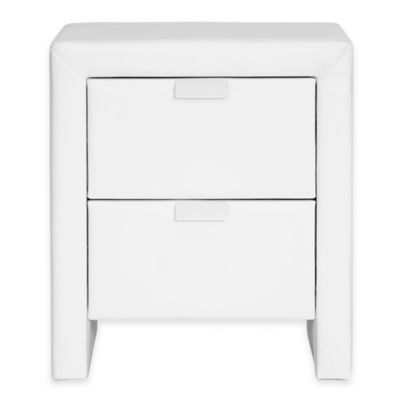 Baxton Studio Upholstered Modern Nightstand in White