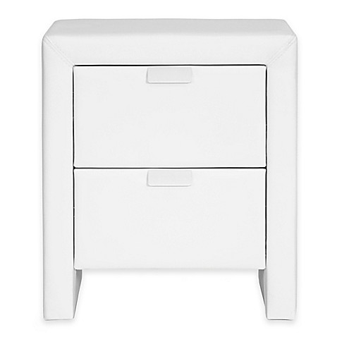 ... Studio Upholstered Modern Nightstand in White from Bed Bath & Beyond