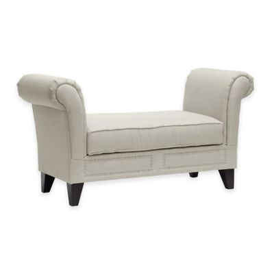 Baxton Studio Marsha Linen Modern Scroll Arm Bench in Light Beige