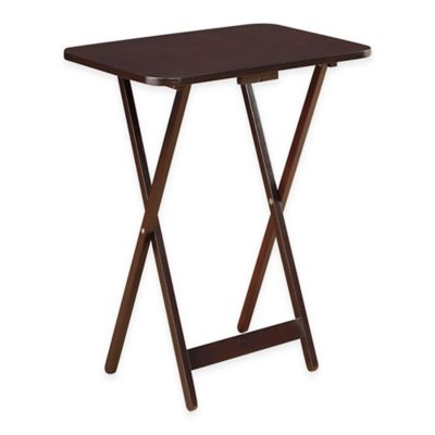 Folding Oversized Wood Tray Table in Espresso