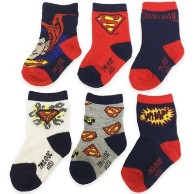 DC Comics™/Warner Bros® Size 6-12M 6-Pack Superman Socks in Navy/Red