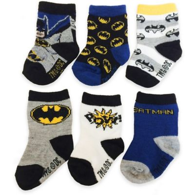 DC Comics™/Warner Bros® Size 12-24M 6-Pack Superman Socks in Blue/Black