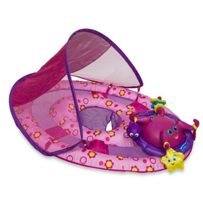 SwimWays Baby Spring Float Activity Center with Canopy in Pink