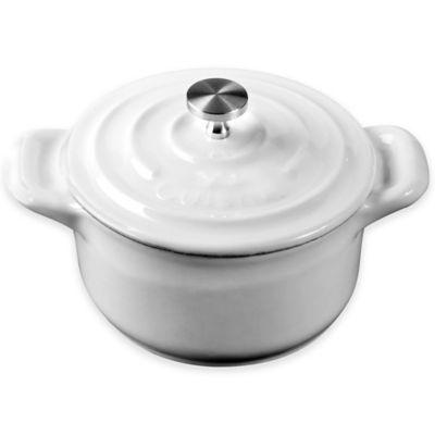 La Cuisine 4-Inch Mini Round Cast Iron Casserole in White