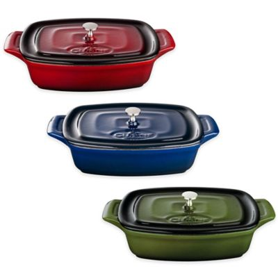 La Cuisine 7-Inch Mini Rectangular Cast Iron Casserole in Red