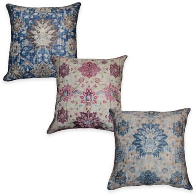 Flora Dale Square Throw Pillow in Indigo