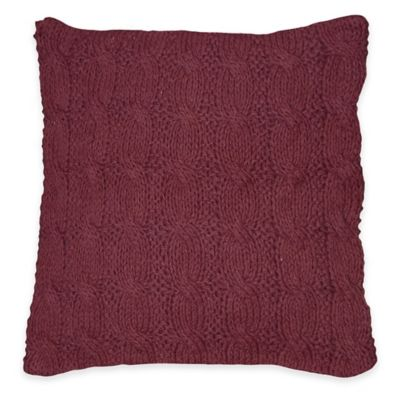 Nadi Square Knit Throw Pillow in Plum