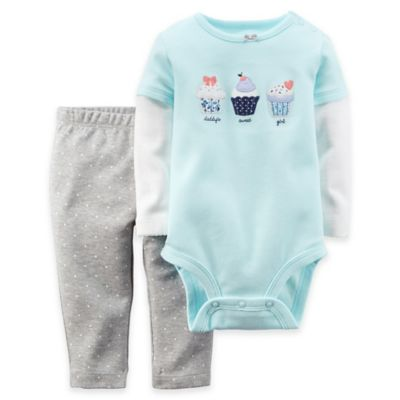 Carter's® Size 3M 2-Piece Cupcakes Long Sleeve Raglan Bodysuit and Pant Set in Blue and Grey