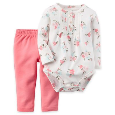 Carter's® Newborn 2-Piece Floral Bodysuit and Pant Set in Pink/White