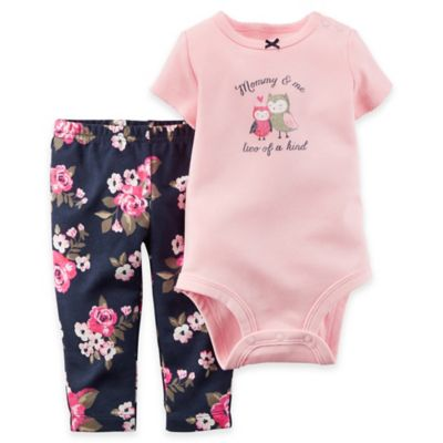 Carter's® Newborn 2-Piece Owls Short-Sleeve Bodysuit and Pant Set in Pink and Navy Floral