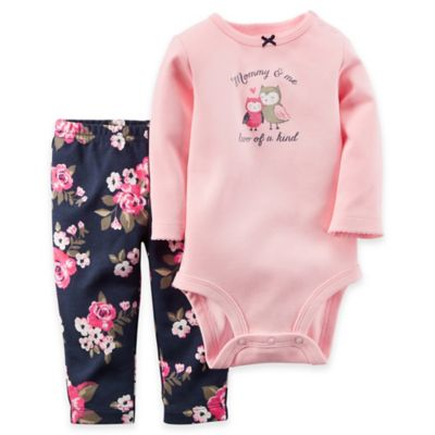 "Carter's® Newborn 2-Piece ""Mommy and Me"" Bodysuit and Pant Set in Pink"
