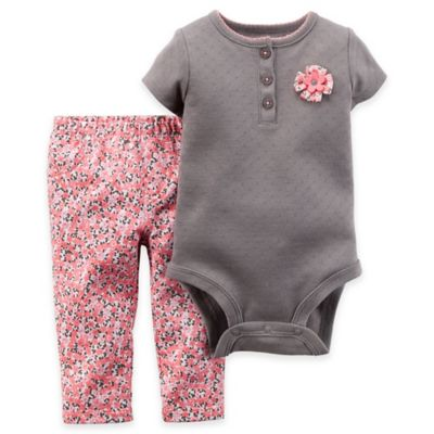 Carter's® Newborn 2-Piece Short-Sleeve Pointelle Bodysuit and Pant Set in Brown/Pink