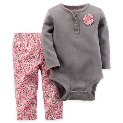 Carter's® Newborn 2-Piece Pointelle Henley Rosette Bodysuit and Pant Set in Grey/Pink Floral