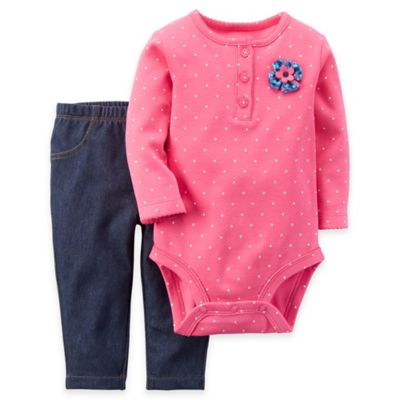 Carter's® Newborn 2-Piece Long Sleeve Henley Rosette Bodysuit and Pant Set in Pink/Denim