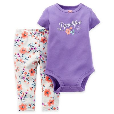 Carter's® Newborn 2-Piece Beautiful in Every Way Bodysuit and Pant Set in Purple/Floral