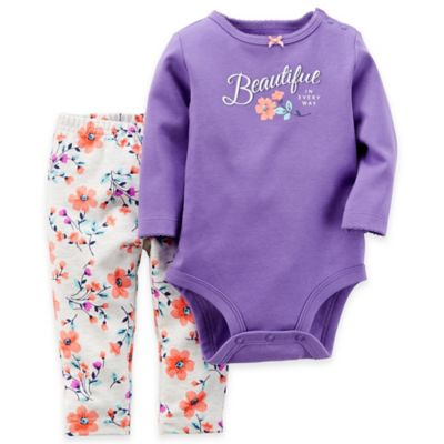 Carter's® Size 12M 2-Piece Beautiful in Every Way Bodysuit and Pant Set in Purple/Floral