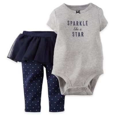"Carter's® Size 3M 2-Piece ""Sparkle Like a Star"" Short Sleeve Bodysuit and Tutu Pant Set"
