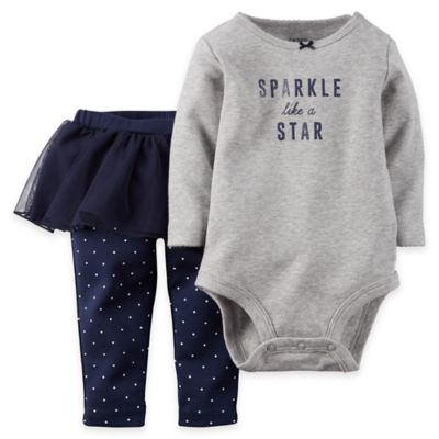 "Carter's® 2-Piece Size 9M ""Sparkle Like a Star"" Bodysuit and Tutu Pant Set in Grey/Navy"