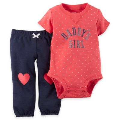 "carter's Size 6M 2-Piece ""Daddy's Girl"" Short Sleeve Bodysuit and Pant Set in Coral/Navy"