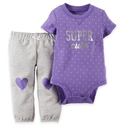 """carter's® Size 6M 2-Piece """"Super Cute"""" Polka Dot Bodysuit and Pant Set in Purple/Grey"""