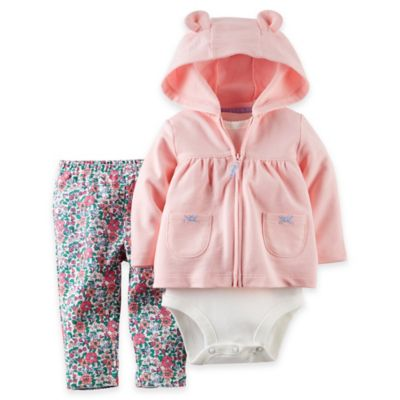 carter's® Size 18M 3-Piece Hoodie, Bodysuit, and Floral Pant Set in Pink/Blue