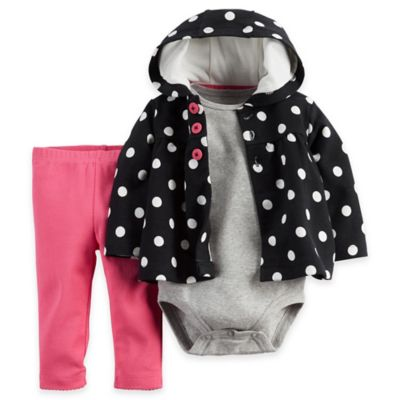 carter's® Size 9M 3-Piece Dot Hoodie, Bodysuit, and Pant Set in Black/Grey/Pink