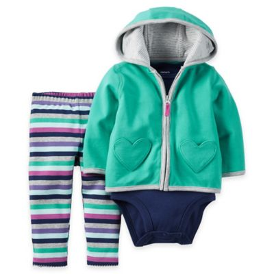 carter's® Size 18M 3-Piece Heart Hoodie, Bodysuit, and Pant Set in Turquoise/Navy