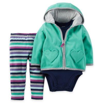 carter's® Newborn 3-Piece Microfleece Heart Hoodie, Bodysuit, and Pant Set in Turquoise/Navy