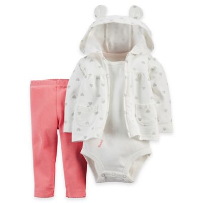 carter's® Size 18M 3-Piece Silver Heart Hoodie, Bodysuit, and Pant Set in Ivory/Pink